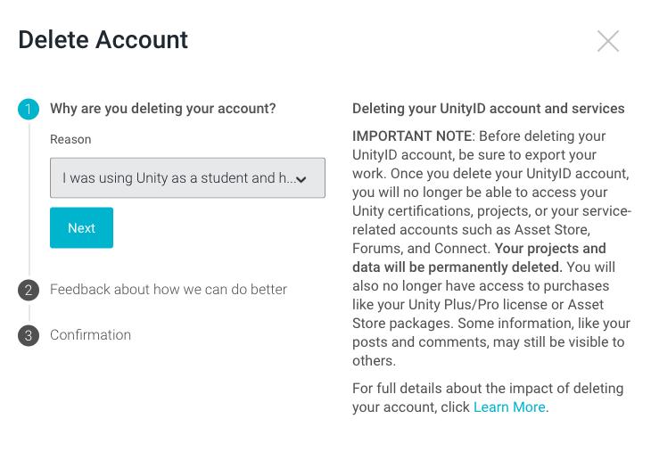 How do I permanently delete my Unity account? – Unity